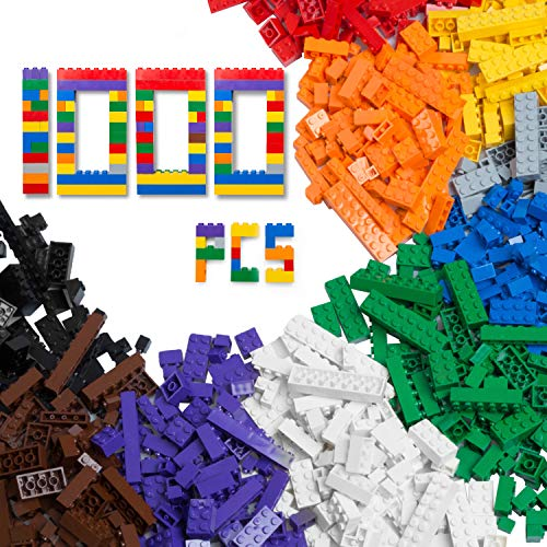 1000 Piece Building Bricks Set- 10 Classic Colors Guaranteed Tight Fit, Compatible with All Major Brands