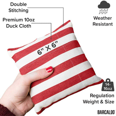 All Weather Cornhole Bean Bags Set of 8 - Duck Cloth, Regulation Size & Weight - Bright American Flag