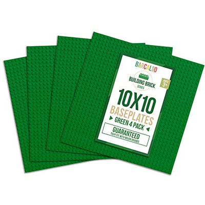10 Inch x 10 Inch Baseplate for Building Bricks - Green 4 Pack Compatible with all Major Brands