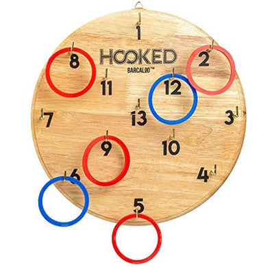 Hooked Ring Toss Game | Hook and Ring Game for Adults & Kids | Indoors -Outdoors Family Fun | Bar, Home, Office, Basement | 6 Blue, 6 Red Rubber Rings for 2 Player Fun