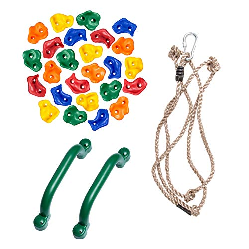 Playground Equipment Set - 25 Pack Rock Climbing Wall Hand Holds, Climbing Rope, & 2 Pack Safety Handle Bars - Playground Accessories for Jungle Gym