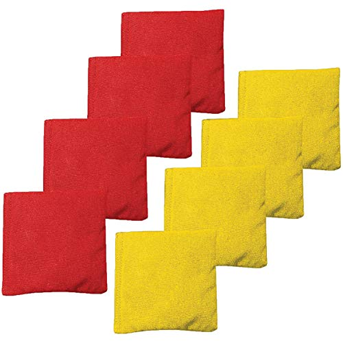 All Weather Cornhole Bean Bags Set of 8 - Duck Cloth, Regulation Size & Weight - Red & Yellow