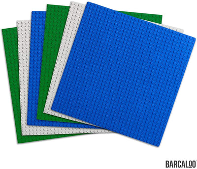 Barcaloo Building Bricks - 10 inch x 10 inch Baseplate - Variety 6 Pack Compatible with all Major Brands