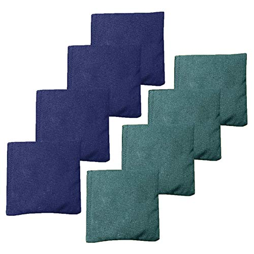 All Weather Cornhole Bean Bags Set of 8 - Duck Cloth, Regulation Size & Weight - Navy Blue & Hunter Green
