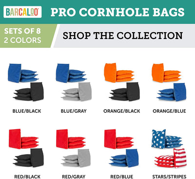 All Weather Professional Cornhole Bags - Set of 8 Regulation All Weather Two Sided Bean Bags for Pro Corn Hole Game - 4 Blue & 4 Gray