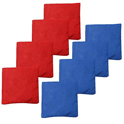 Weather Resistant Cornhole Bean Bags Set of 8 - Duck Cloth - Regulation Size & Weight - Red and Blue