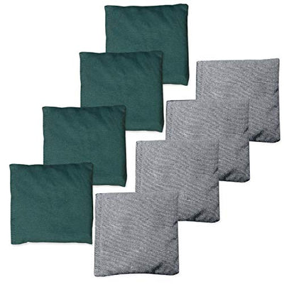 All Weather Cornhole Bean Bags Set of 8 - Duck Cloth, Regulation Size & Weight - Hunter Green & Gray
