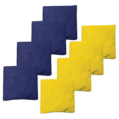 All Weather Cornhole Bean Bags Set of 8 - Duck Cloth, Regulation Size & Weight - Navy Blue & Yellow