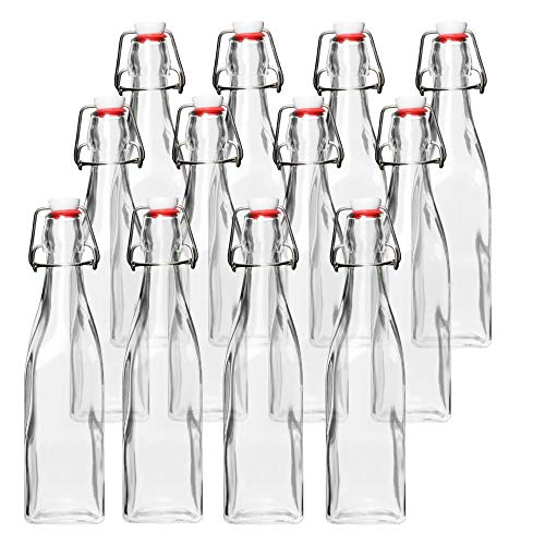 Glass Beer Bottles for Home Brewing - Square 12 Pack with Flip Caps and Funnel