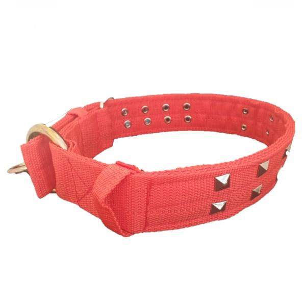 Large Dog Collar with Studs - Red with studs