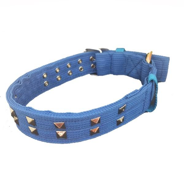Large Dog Collar with Studs - Blue with studs.