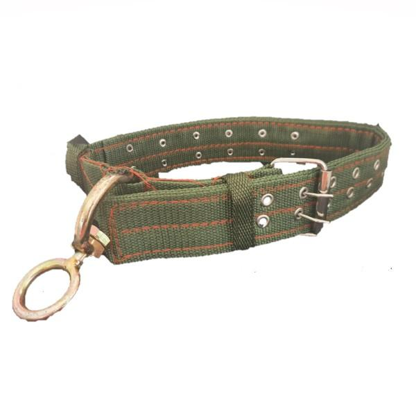 Large Dog Collar with Studs - Khaki with gold ring.