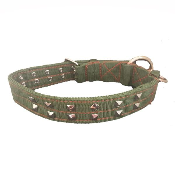 Large Dog Collar with Studs - Khaki with studs.