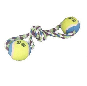 Pet Rope Tug & Chew Toy with 2 Tennis Balls - Pet bonds