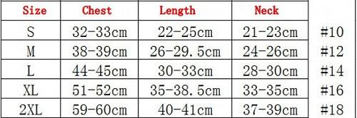 Dog Superman Tracksuit - Sizing Chart