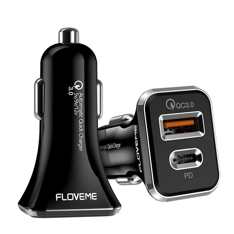 FLOVEME 36W PD Quick Charge QC3.0 dual USB ports car fast charger