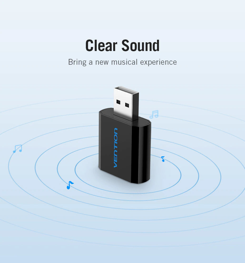 USB Sound Card Adapter 3.5mm Audio Microphone Output