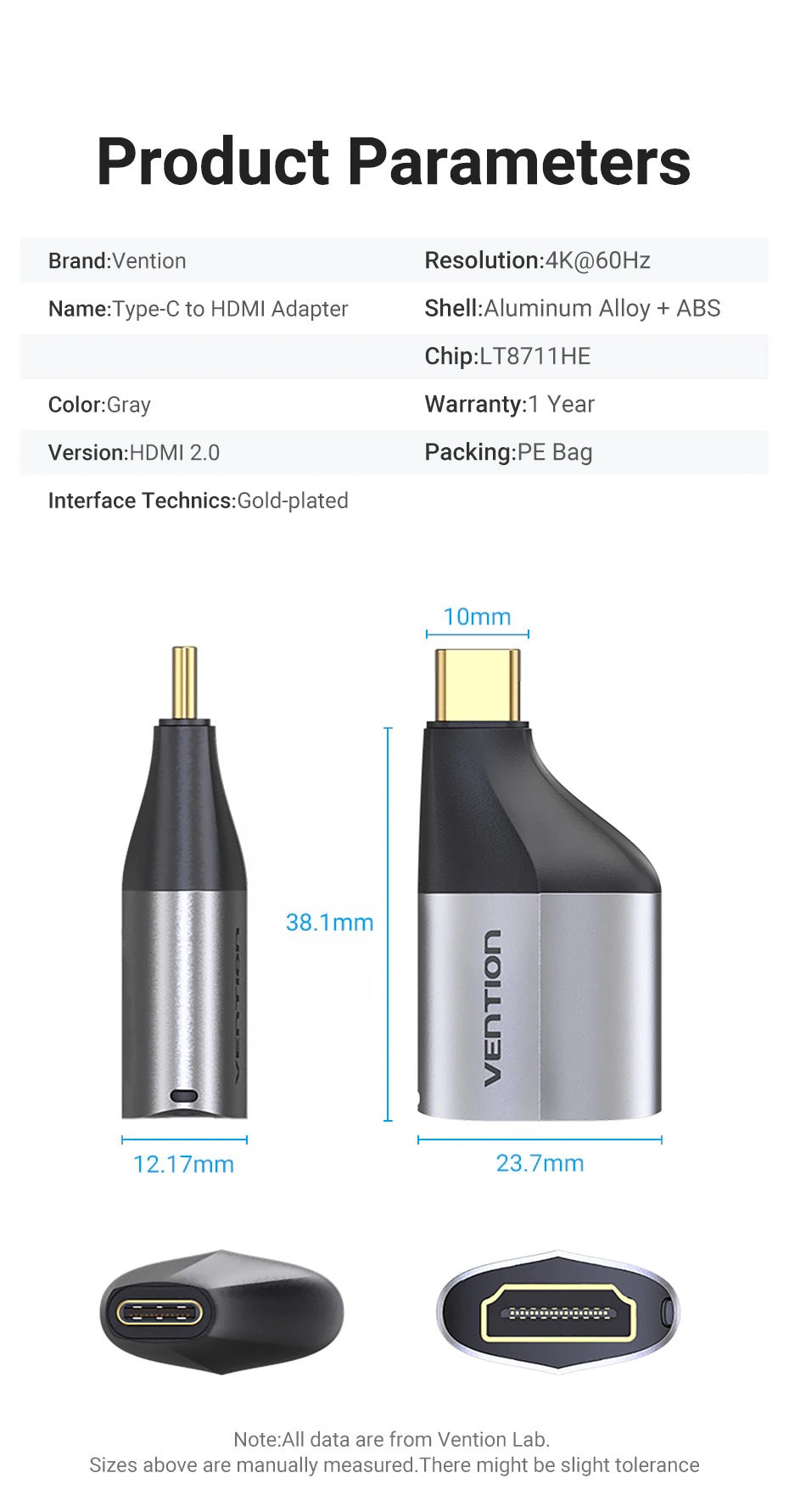 USB-C (TYPE-C) Male to HDMI 2.0 Female Adapter 4K 60Hz