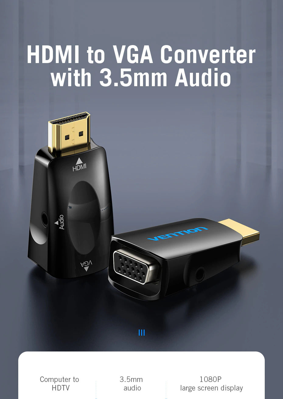 HDMI to VGA Adapter Converter with 3.5MM Audio