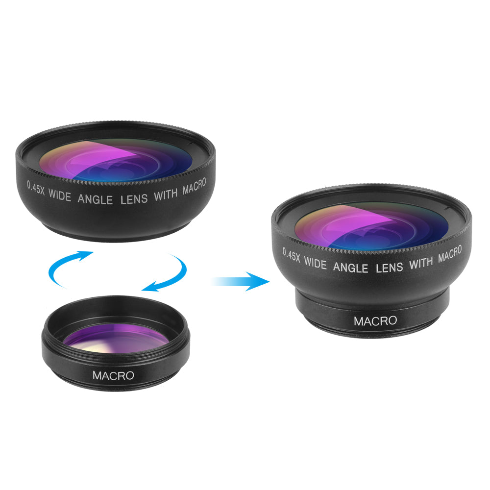 Apexel 2-in-1 Phone Lens Kit 0.45x Super-Wide Angle 12.5x Super-Macro Lens