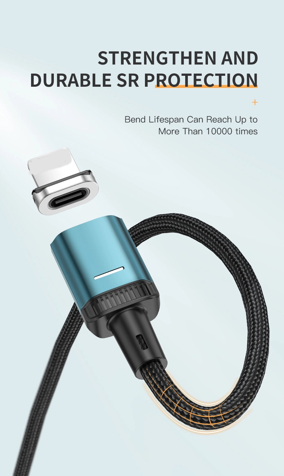 Magnetic Micro-USB Type-C Lightning 3-in-1 fast charging cable - Quick charge 3.0