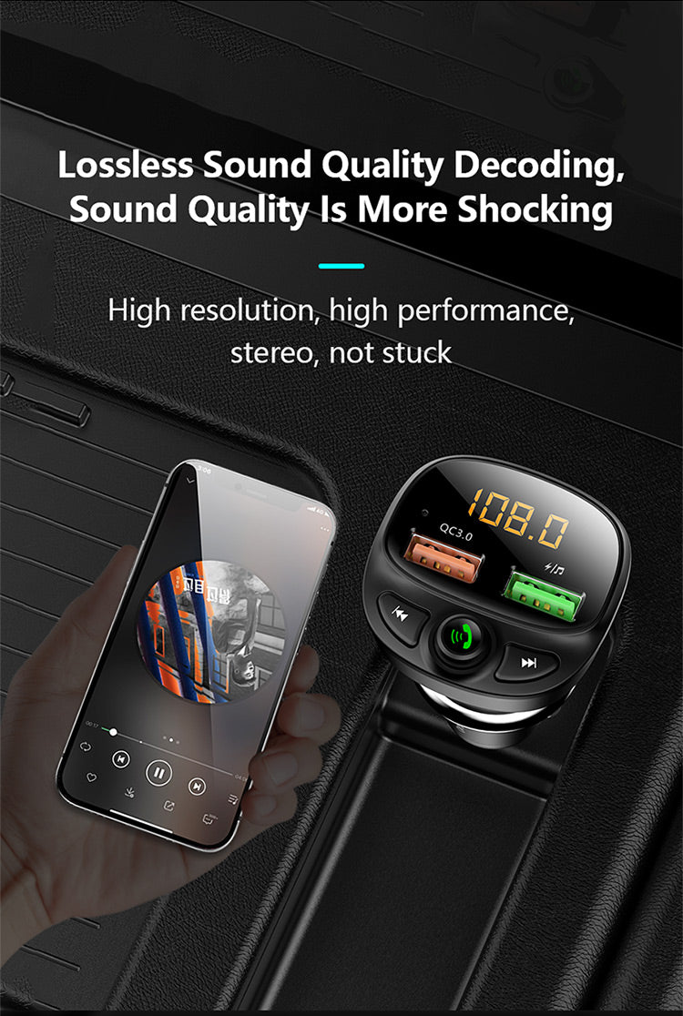 FLOVEME Car Bluetooth FM Mp3 Transmitter USB phone quick charger