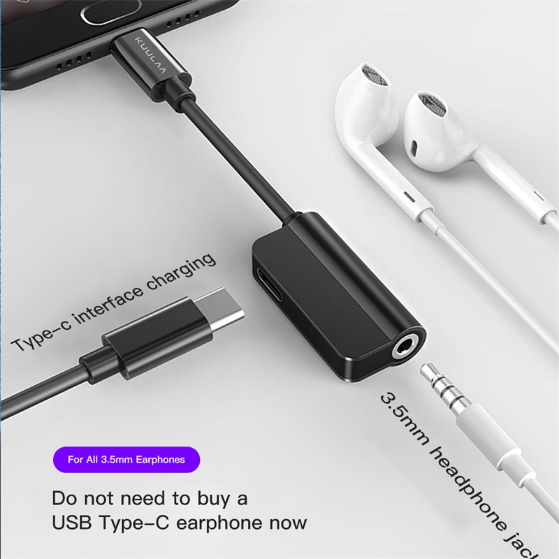 2-in-1 Type-C charging 3.5mm audio adapter for Huawei Xiaomi OnePlus