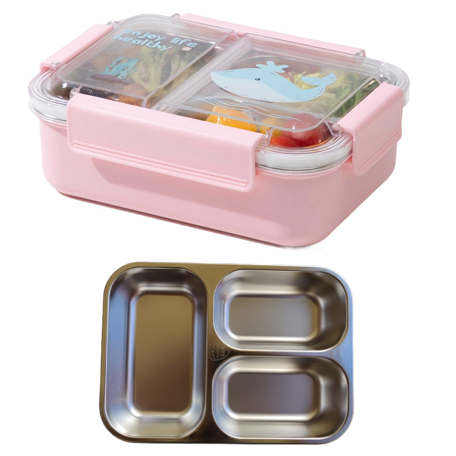 Stainless Steel 3 Compartment Leakproof Bento Lunch Box