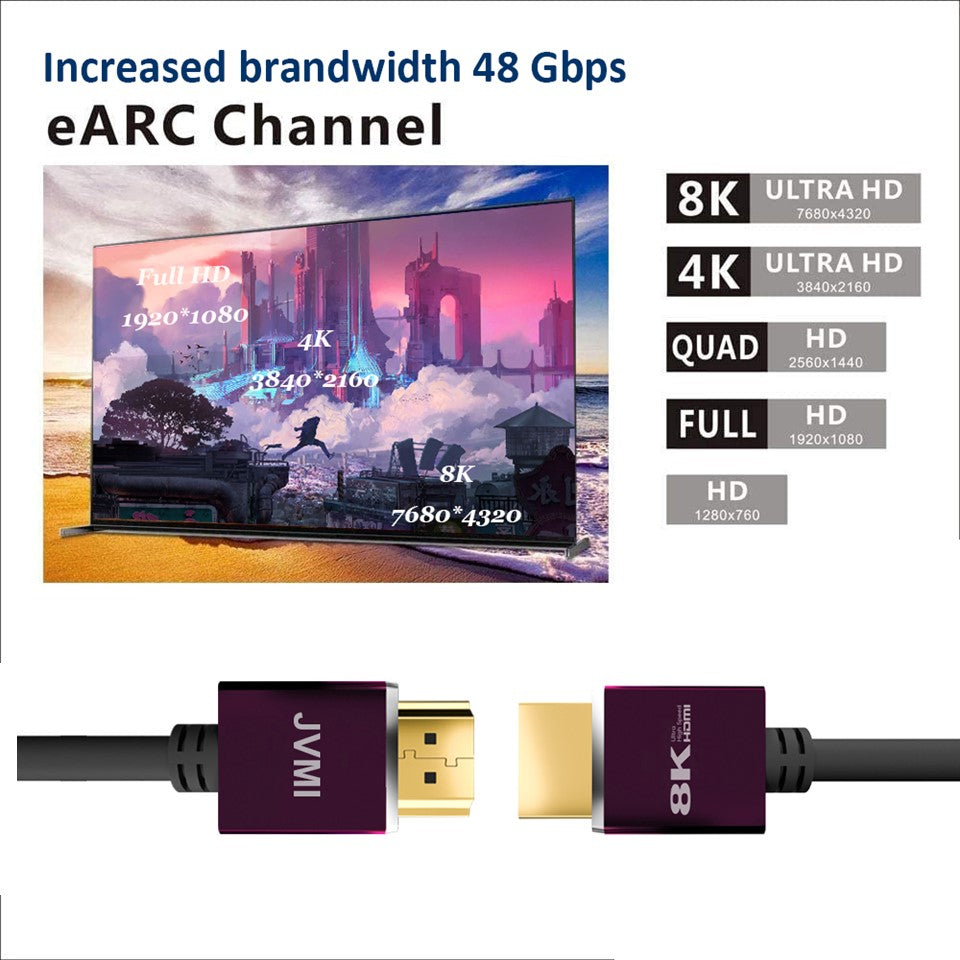 Official Certified Ultra High Speed 2.1 8K HDMI Cable 48Gbps