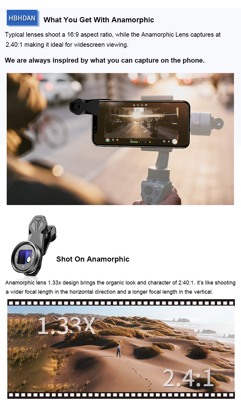 Apexel Professional Widescreen Film-making 1.33x Anamorphic Camera Lens for iPhones