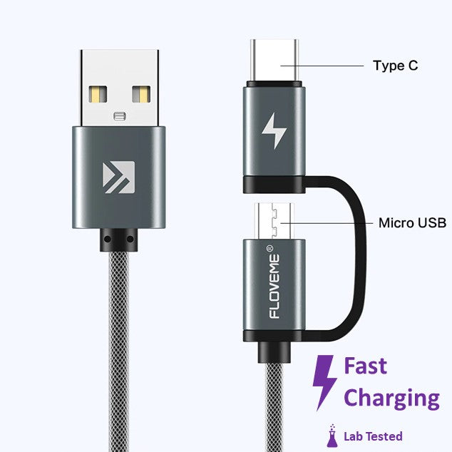 FLOVEME Micro-USB USB-C 2-in-1 fast charging cable QC 3.0 AFC
