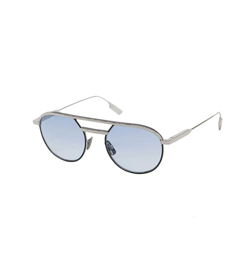 CARLO - Silver - Black | Light Blue Lens