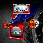 XKGLOW Motorcycle LED License Plate Frame with Running Turn and Brake, White (XK034018-W)