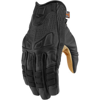 ICON 1000 AXYS Leather Motorcycle Gloves Black - Throttle City Cycles