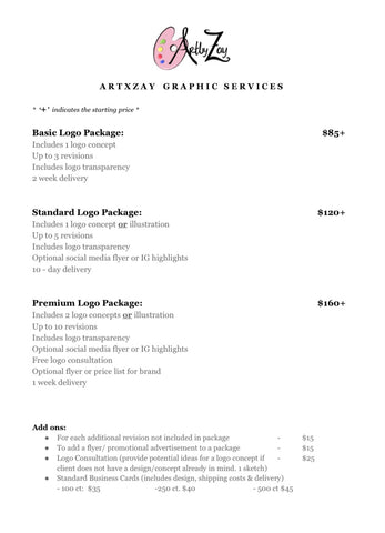 pricing for graphic illustrations and logos