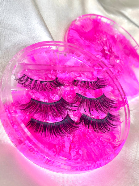 Hot pink resin eyelash case