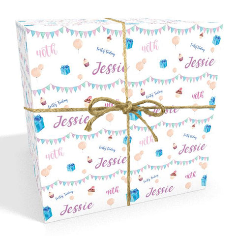 40th Birthday Bunting Personalised Wrapping Paper