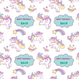 Pink Unicorn Cartoon Personalised Birthday Wrapping Paper