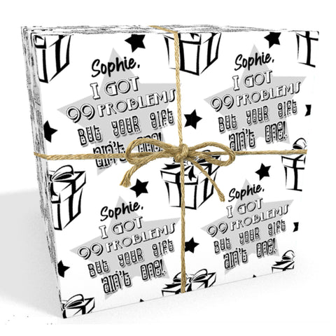 99 Problems Personalised Birthday Wrapping Paper