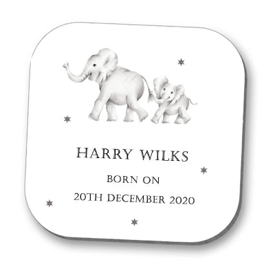 Elephants New Born Baby Personalised Coaster