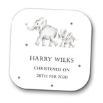 Elephants Christening Personalised Coaster