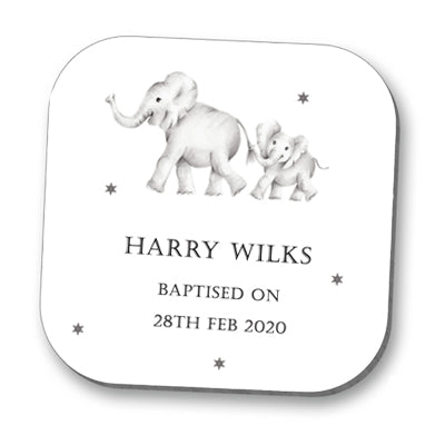 Elephants Baptised Personalised Coaster