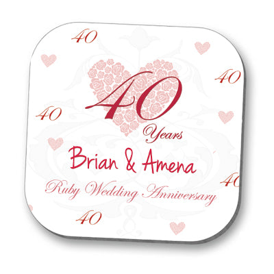 Ruby 40th Anniversary Personalised Coaster