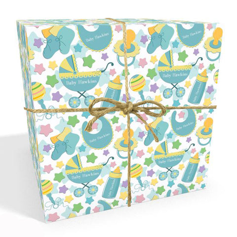 New Baby Blue Personalised Wrapping Paper