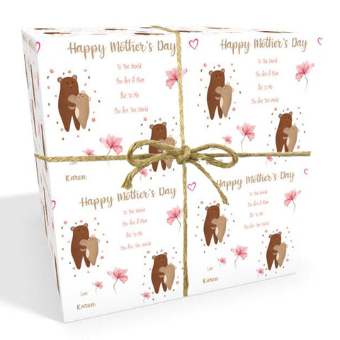 Mother's Day Bears Personalised Mother's Day Wrapping Paper