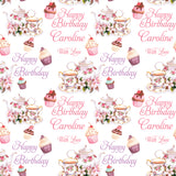 Afternoon Tea Personalised Birthday Wrapping Paper