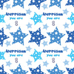 Happy Birthday Blue Stars Personalised Wrapping Paper- Add A Name and Age