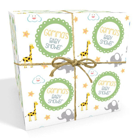 Green Jungle Personalised Baby Shower Wrapping Paper