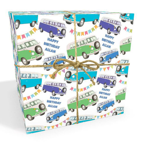 Campervan Personalised Birthday Wrapping Paper