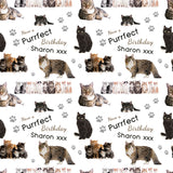 Cats Personalised Birthday Wrapping Paper